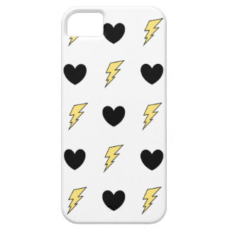 Phone Case with original art -Black Hearts & Bolts Case For The iPhone 5