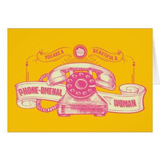 Phone-omenal Woman Pun Card