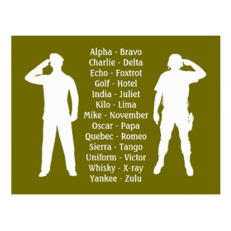 Phonetic Alphabet Army Military Recruit Cadet Postcard