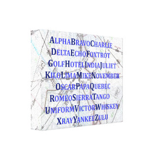 Phonetic Alphabet Canvas, Blue, Map Home Gifts Canvas Print
