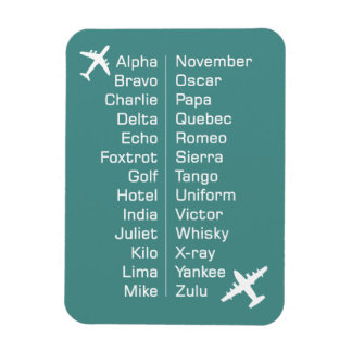 Phonetic Alphabet Reminder With Aeroplanes Magnet
