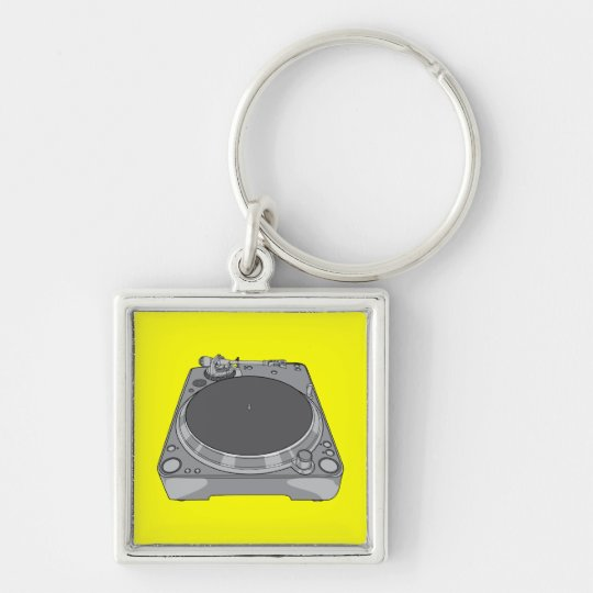Phonograph Record Player Vintage Retro DJ Silver-Colored Square Key Ring