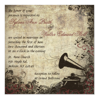 Phonograph Vintage Wedding Invitation