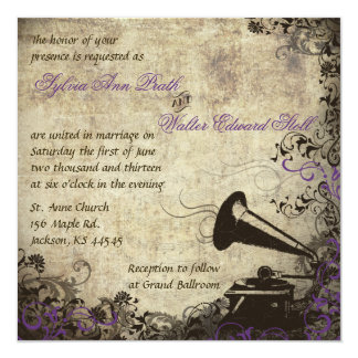 Phonograph Vintage Wedding Invitation Purple