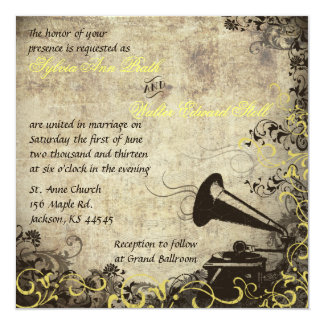 Phonograph Vintage Wedding Invitation Yellow