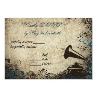 Phonograph Vintage Wedding RSVP Invitation Blue