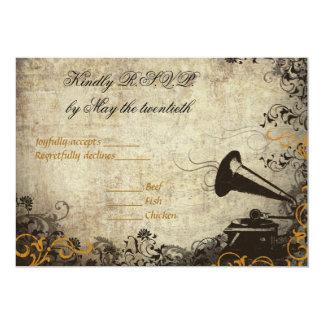 Phonograph Vintage Wedding RSVP Invitation Orange