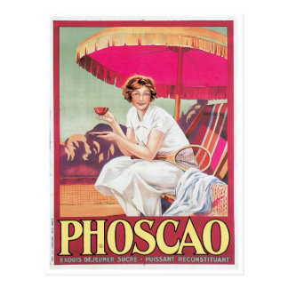 Phoscao Vintage Chocolate Drink Ad Art Postcard