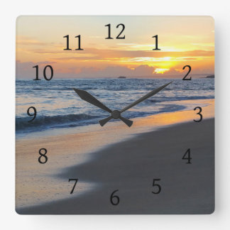 Photo 19 ocean sunset square wall clock