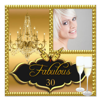 Photo 30th Birthday Party Elegant Gold Butterfly Card