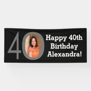 Photo 40th Birthday Party Banner Black and White