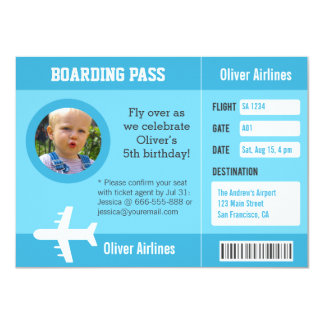 Photo Airplane Boarding Pass Birthday Party Card