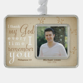 Photo and  Scripture Memorial Silver Plated Framed Ornament