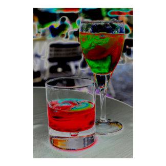 , Photo art changes beverages on table, colors, Poster