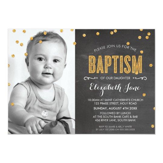 PHOTO BAPTISM gold glitter confetti chalkboard Card