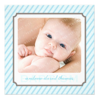 PHOTO BAPTISM INVITES candystripes 2SQ