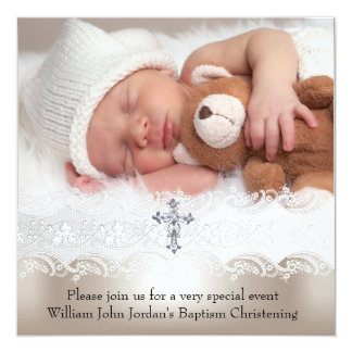 Photo Baptism White Beige Cross Baby Girl Boy 13 Cm X 13 Cm Square Invitation Card