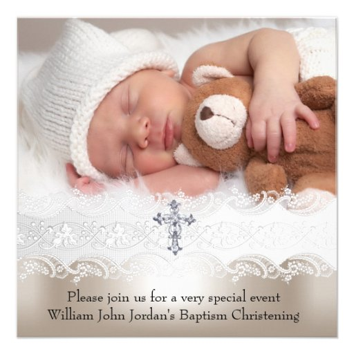 Photo Baptism White Beige Cross Baby Girl Boy Invitations