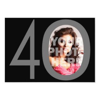 "Photo Big 40 Black/Gray Birthday Party Invitations 5"" X 7"" Invitation Card"