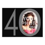 Photo Big 40 Black/Grey Birthday Party Invitations