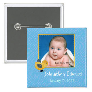 Photo Birth Annoucement Cute Baby Chick 15 Cm Square Badge