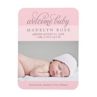 Photo Birth Announcement | Baby Girl Rectangular Photo Magnet