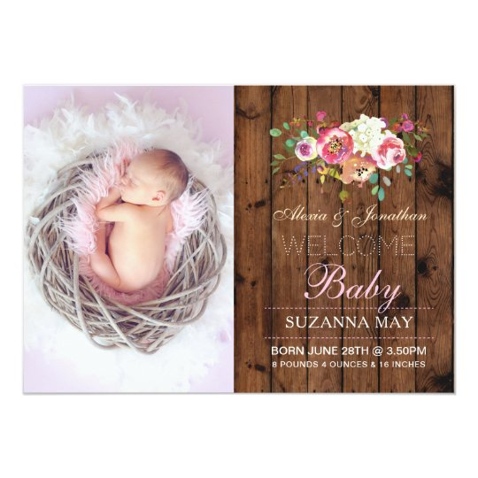 Photo Birth Announcement Baby Girl Wood Cards
