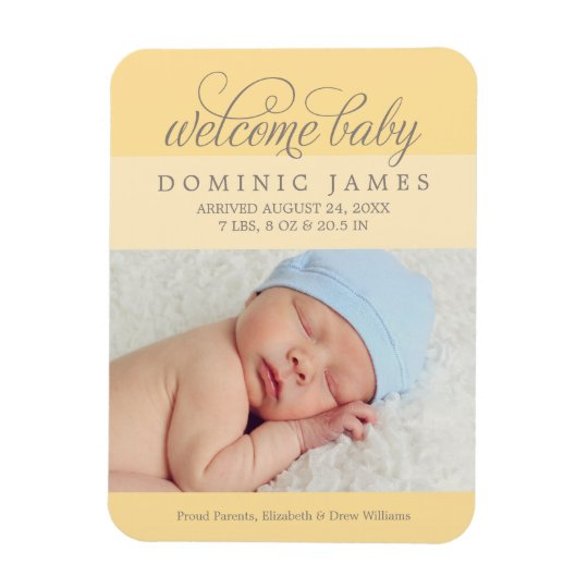Photo Birth Announcement | Custom Colour Rectangular Photo Magnet