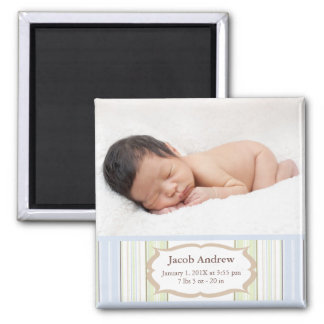 Photo Birth Announcement Magnets - Baby Boy