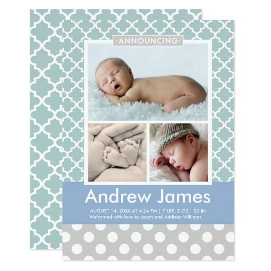 Photo Birth Announcement | Modern Pattern Baby Boy