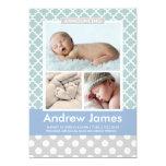 Photo Birth Announcement | Modern Pattern Baby Boy
