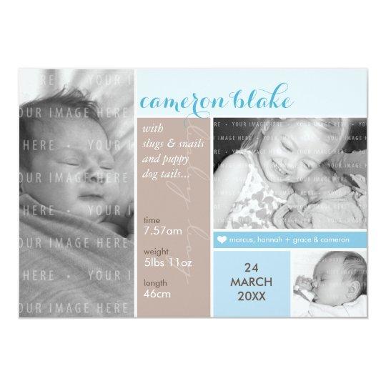 PHOTO BIRTH ANNOUNCEMENT mondrian boy blue