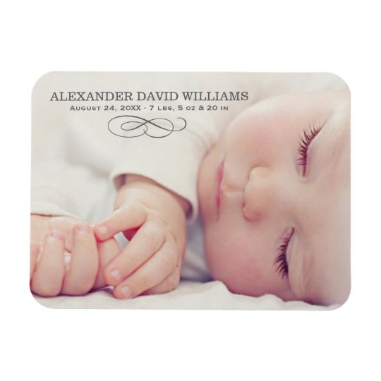 Photo Birth Announcement | Simple Elegance Rectangular Photo Magnet
