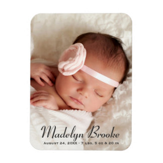 Photo Birth Announcement | Sweet Script Rectangular Photo Magnet