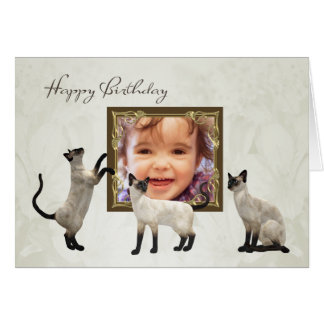 Photo Birthday card with siamese cats