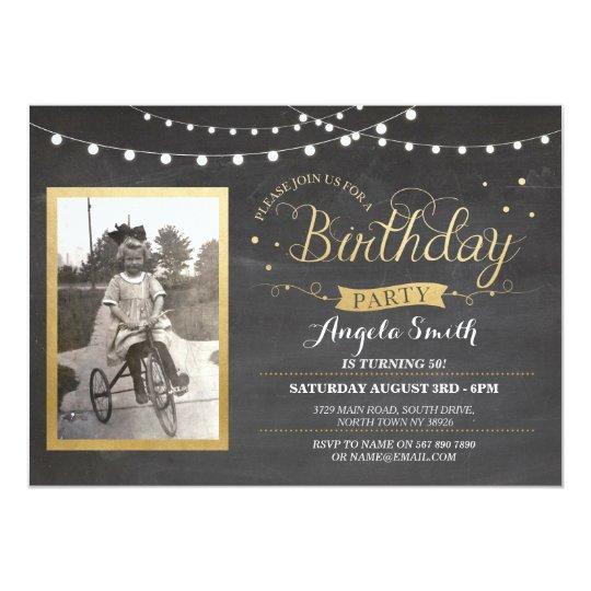 Photo Birthday Chalk Lights Rustic Gold Invites