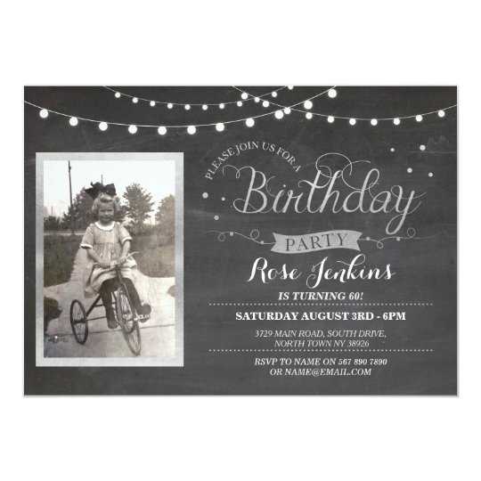 Photo Birthday Chalk Lights Rustic Wood Invites