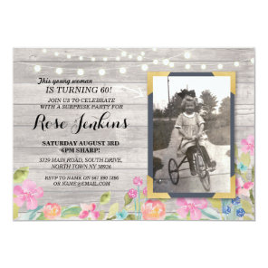 Photo Birthday Floral Rustic Wood Invitations