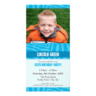 PHOTO BIRTHDAY INVITATIONS :: animal print 1 Photo Card