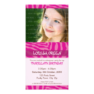 PHOTO BIRTHDAY INVITATIONS :: animal print 3 Customised Photo Card