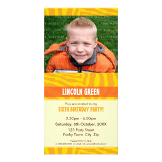 PHOTO BIRTHDAY INVITATIONS :: animal print 4 Picture Card