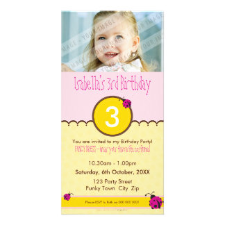PHOTO BIRTHDAY INVITATIONS :: ladybird 1P Photo Card Template