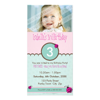 PHOTO BIRTHDAY INVITATIONS :: ladybird 2P Customised Photo Card