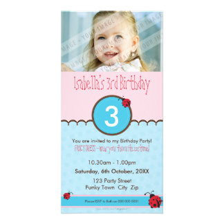 PHOTO BIRTHDAY INVITATIONS :: ladybird 3P Picture Card