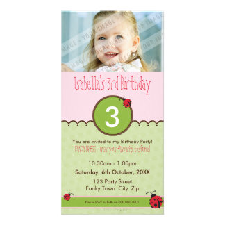 PHOTO BIRTHDAY INVITATIONS :: ladybird 4P Customized Photo Card