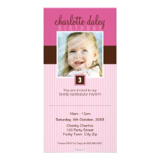 PHOTO BIRTHDAY INVITATIONS :: lovely square 5 Photo Cards