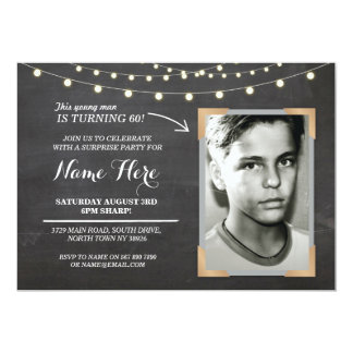Photo Birthday Party Chalk Mens Womens 60th Invite