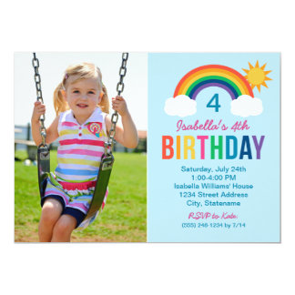 Photo Birthday Party Invitation | Rainbow Colors