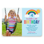 Photo Birthday Party Invitation | Rainbow Colours