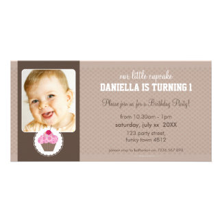 PHOTO BIRTHDAY PARTY INVITE :: cupcake 7L Photo Greeting Card